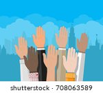 raised up hands. people vote... | Shutterstock .eps vector #708063589