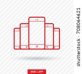 smart phone line vector icon | Shutterstock .eps vector #708064621