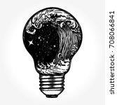 storm in a light bulb tattoo.... | Shutterstock .eps vector #708066841