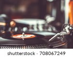 dj vinyl records player with... | Shutterstock . vector #708067249