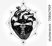 heart tattoo and t shirt design.... | Shutterstock .eps vector #708067909