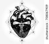 heart tattoo and t shirt design.... | Shutterstock .eps vector #708067909