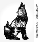 wolf double exposure tattoo art.... | Shutterstock .eps vector #708068239