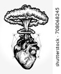 nuclear explosion of anatomical ... | Shutterstock .eps vector #708068245