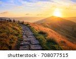 sunrise over mam tor in peak... | Shutterstock . vector #708077515