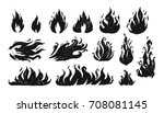 Set Of Hand Drawn Flames. Vector