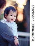 portrait of adorable baby girl... | Shutterstock . vector #708082879
