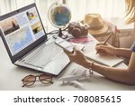 young women planning vacation... | Shutterstock . vector #708085615
