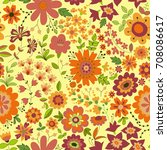 vector flower pattern. colorful ... | Shutterstock .eps vector #708086617
