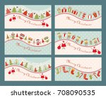set of 6 vintage christmas... | Shutterstock .eps vector #708090535