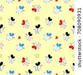 bee pattern vector illustration  | Shutterstock .eps vector #708090931