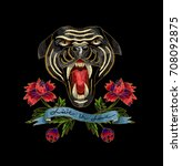 panther and flowers embroidery... | Shutterstock .eps vector #708092875