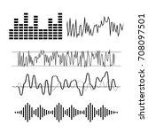 signal wave set. analog signals ... | Shutterstock .eps vector #708097501