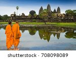 monks in buddhism at angkor wat ... | Shutterstock . vector #708098089