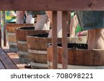 Small photo of Carlton, Oregon,USA - September 12, 2015:Contestants stomp grapes in barrels at Carlton's annual Wine Crush Harvest Festival in Yamhill County's wine country in Oregon.