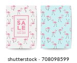 flamingo sale poster and flyer... | Shutterstock .eps vector #708098599
