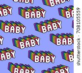 seamless pattern with patches ... | Shutterstock .eps vector #708105559
