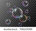 realistic 3d soap bubbles set... | Shutterstock .eps vector #708105589