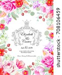 wedding invitation card with... | Shutterstock .eps vector #708106459