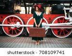 woman with suitcase against... | Shutterstock . vector #708109741