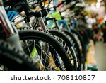 bicycle shop  rows of new bikes ... | Shutterstock . vector #708110857