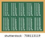 multiplication table on green... | Shutterstock .eps vector #708113119