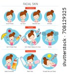 girl with facial skin problems  ... | Shutterstock .eps vector #708129325