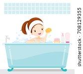 cute girl bathing in bathtub ... | Shutterstock .eps vector #708129355
