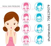girl with facial skin problems... | Shutterstock .eps vector #708129379