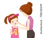 mother wearing sunscreen on... | Shutterstock .eps vector #708130249