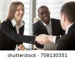 beautiful smiling businesswoman ... | Shutterstock . vector #708130351