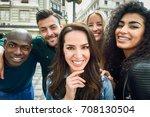 multiracial group of friends... | Shutterstock . vector #708130504