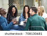 multiracial group of five... | Shutterstock . vector #708130681