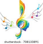 rainbow splash treble clef and... | Shutterstock .eps vector #708133891