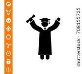 knowledge concept with graduate ... | Shutterstock .eps vector #708155725