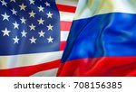 usa and russia flags. 3d waving ... | Shutterstock . vector #708156385