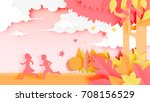 kids in the woods with paper... | Shutterstock .eps vector #708156529