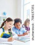 creative girl and her classmate ... | Shutterstock . vector #708157351
