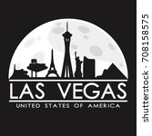 las vegas skyline silhouette...   Shutterstock .eps vector #708158575