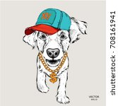 the poster with the image dog... | Shutterstock .eps vector #708161941