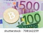 golden bitcoin euro background. ... | Shutterstock . vector #708162259