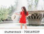 young stylish woman wearing red ...   Shutterstock . vector #708169039