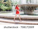 young stylish woman wearing red ...   Shutterstock . vector #708172009