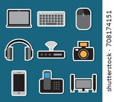 stickers set of simple devices... | Shutterstock .eps vector #708174151