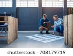two focused young work...   Shutterstock . vector #708179719