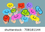 a group of people  joy ... | Shutterstock .eps vector #708181144