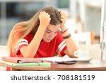 single frustrated student girl...   Shutterstock . vector #708181519