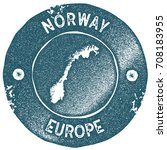 norway map vintage stamp. retro ... | Shutterstock .eps vector #708183955
