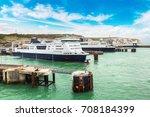 white cliffs and dover harbor...   Shutterstock . vector #708184399