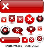 abort vector glossy icons. | Shutterstock .eps vector #70819063
